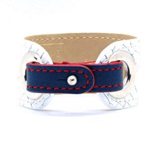 Mauve et Fauve , bracelet manc4hette en cuir pour femme , Made in France