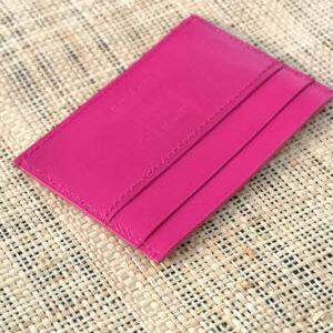 porte-carte cuir de chèvre glacé rose fuschia