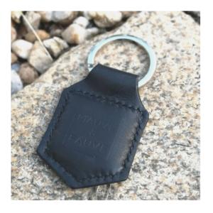 Porte-clés en cuir nor , anneau métal argent