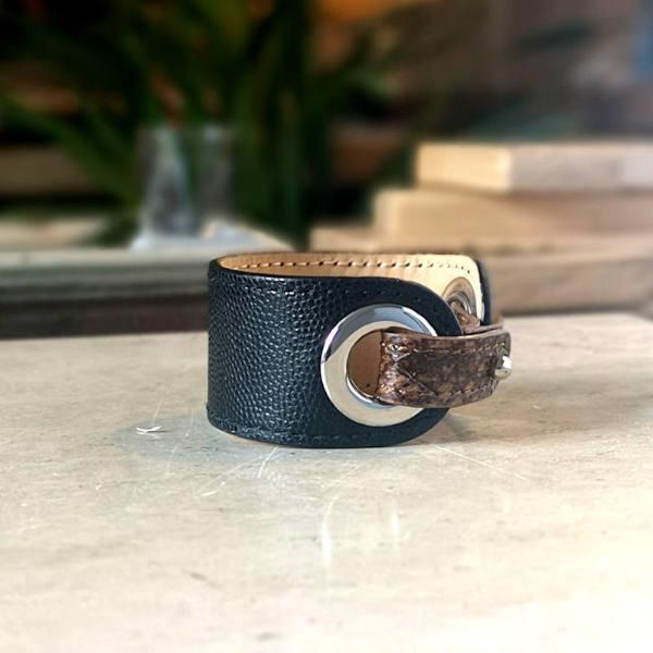 Bracelet en cuir, manchette bijoux Iris